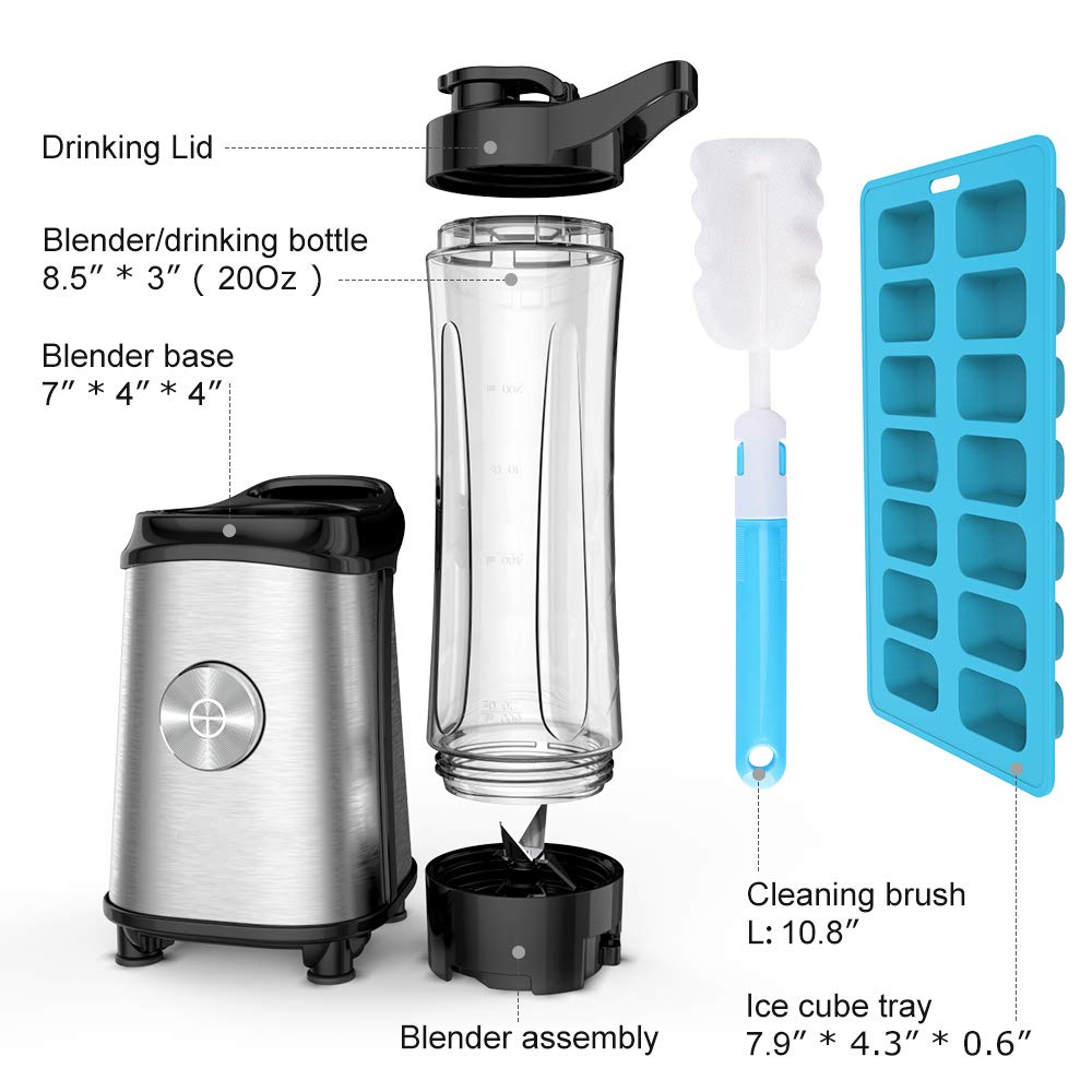 Personal Blender for Shakes and Smoothies - Powerful Drink Mixer with 20 Oz To Go Bottle, Single Use Juicer with Easy One Touch Operation, Great for Sports, Travel, Gym and Office (with Silicone Ice Cube Tray & Bottle Brush) by Gloridea (Image #5)