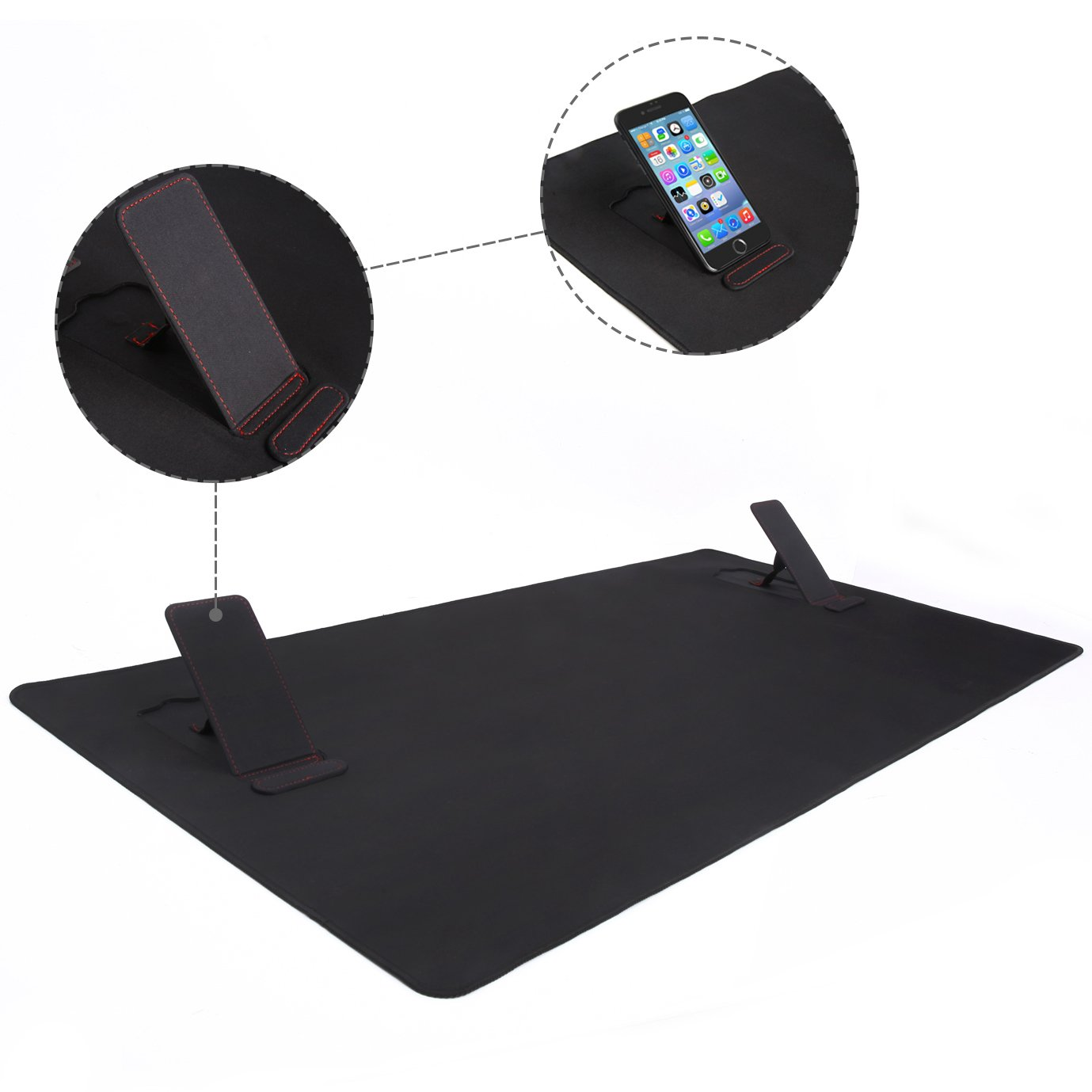 Large Extended Gaming Mouse Pad XXL, Vogek Thick Large 34''x23'' Computer Keyboard Mouse Mat Waterproof Desk Pad with 2 Kick Stands for Smart Phones Black by Vogek (Image #3)