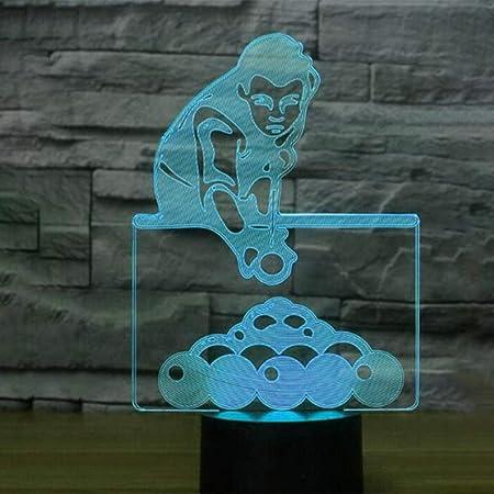 ypyrhh Lámpara de Noche LED Illusion 3D,Jugando Billar 3D luz ...