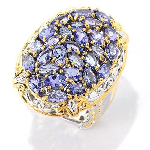 Michael Valitutti Palladium Silver Oval, Marquise & Pear Cut Multi Tanzanite Cluster Ring