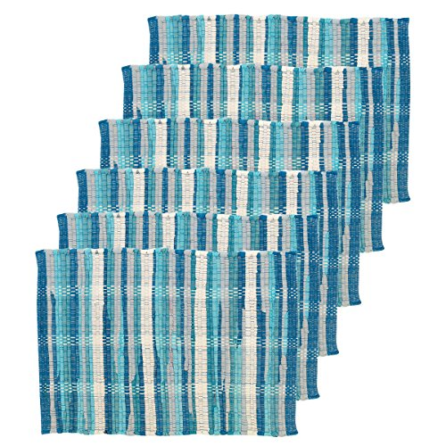 C&F Home Hadley Aqua Woven Placemat Set of 6