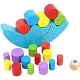 Naovio Kids Wooden Balance Toy Cartoon Moon Stacking Cylinder Blocks Set Balancing Game Educational Toys