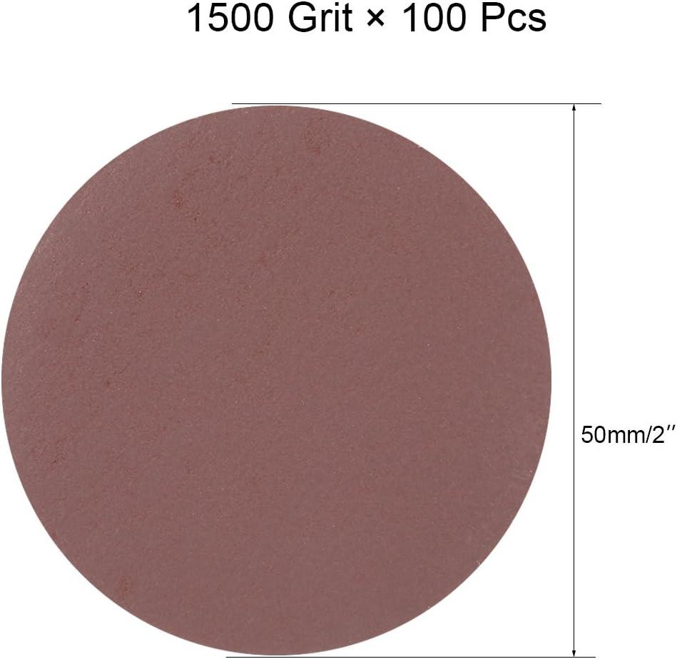 uxcell 100Pcs 2 Inch Hook and Loop Sanding Disc 1500 Grits Flocking Sandpaper for Random Orbit Sander Brown
