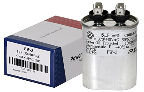 PowerWell 5 uf MFD 370 or 440 VAC Oval Run Capacitor PW-5 for Fan Motor  Blower Condenser in Air Handler Straight Cool or Heat Pump Air Conditioner  -