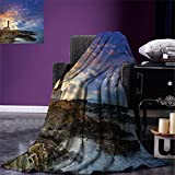 smallbeefly Lighthouse Decor Digital Printing Blanket Cap de Favaritx Sunset Lighthouse Cape in Mahon at Balearic Islands of Spain Coast Summer Quilt Comforter