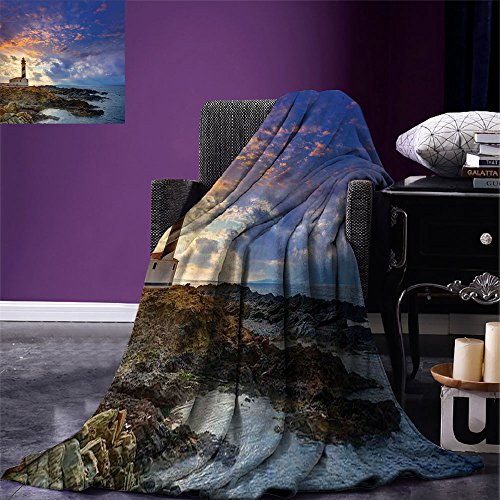 smallbeefly Lighthouse Decor Digital Printing Blanket Cap de Favaritx Sunset Lighthouse Cape in Mahon at Balearic Islands of Spain Coast Summer Quilt Comforter by smallbeefly