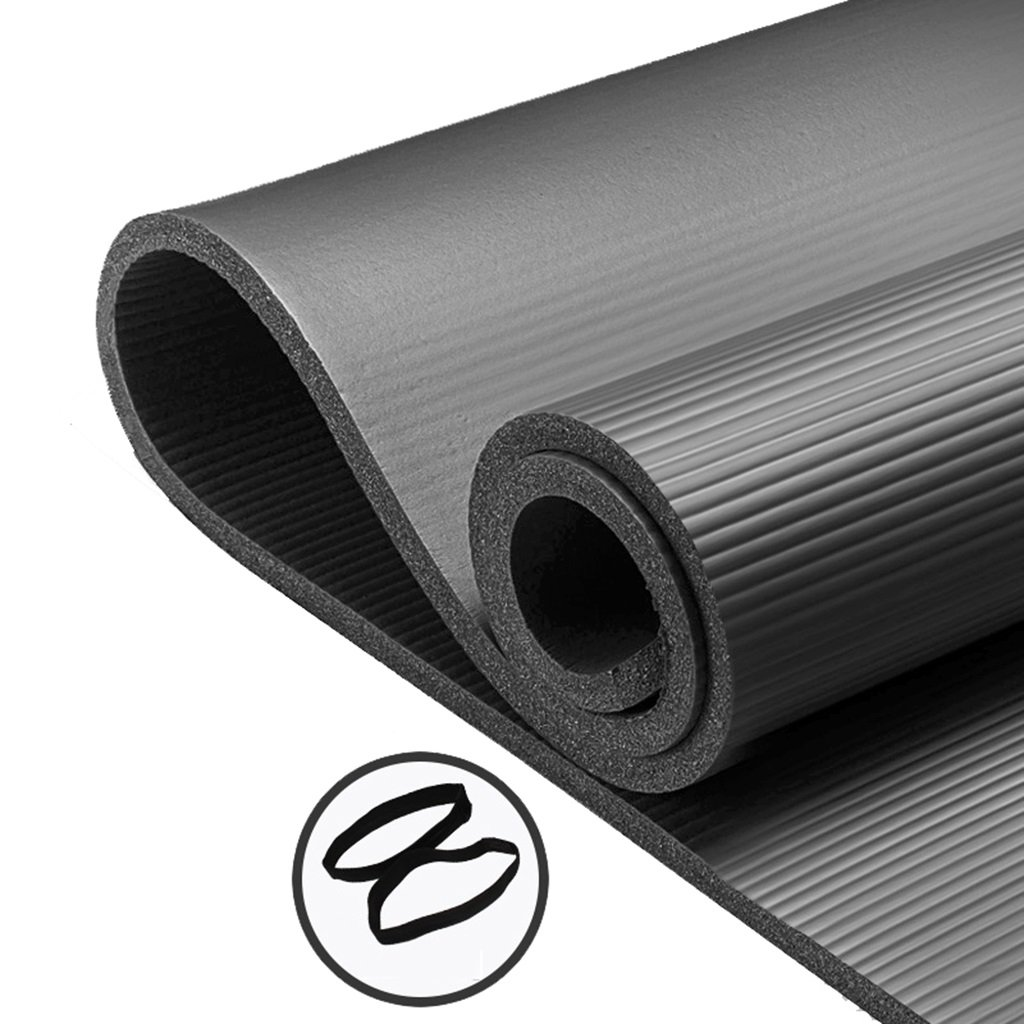 Übungsmatten für Hauptgymnastik-Extrastärke, Nicht Beleg, 15mm, Hohe Dichte Anti-Riss Yoga Pilates-Matte mit Bügel für Innenim Freien