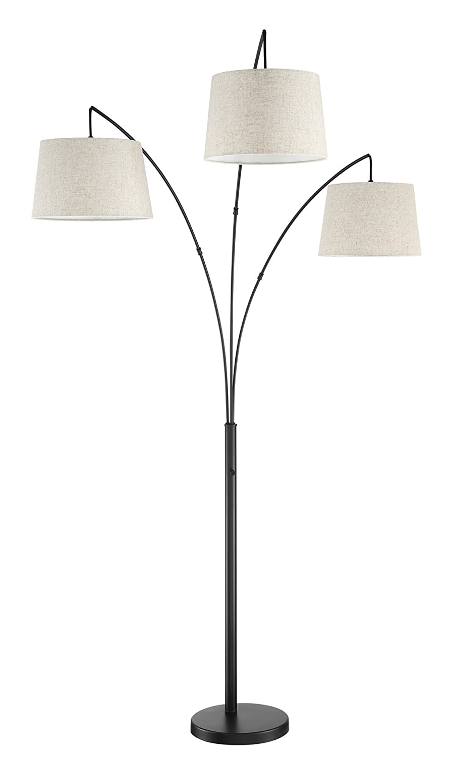 Kira Home Akira 78.5' Modern 3-Light Arc Floor Lamp with 4-Way Switch, Oatmeal Shades + Oil Rubbed Bronze Finish