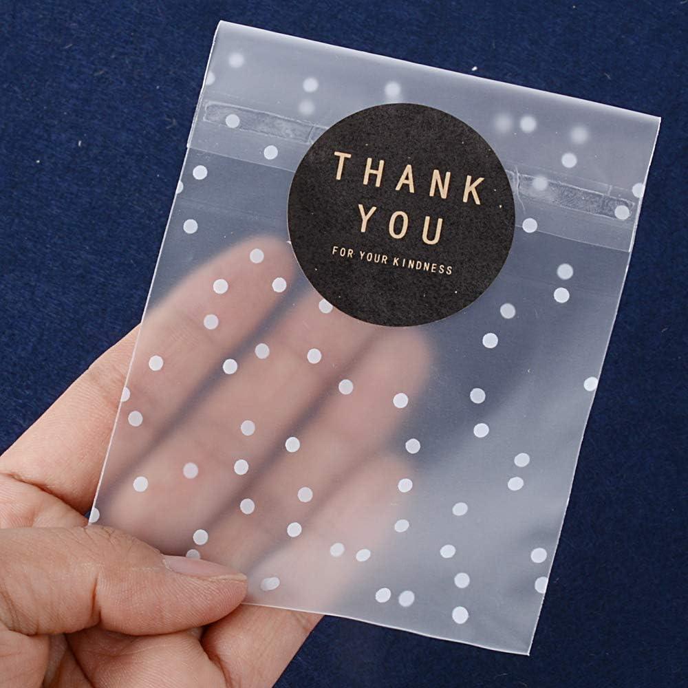 11.5*11.5+3cm Plastique Blanc CozofLuv Auto-Adh/ésif Transparent Sacs Pois Blancs Autocollant Plastique Cookie Sacs pour Cadeau donnant 100 Sacs 102 /étiquettes Thank You