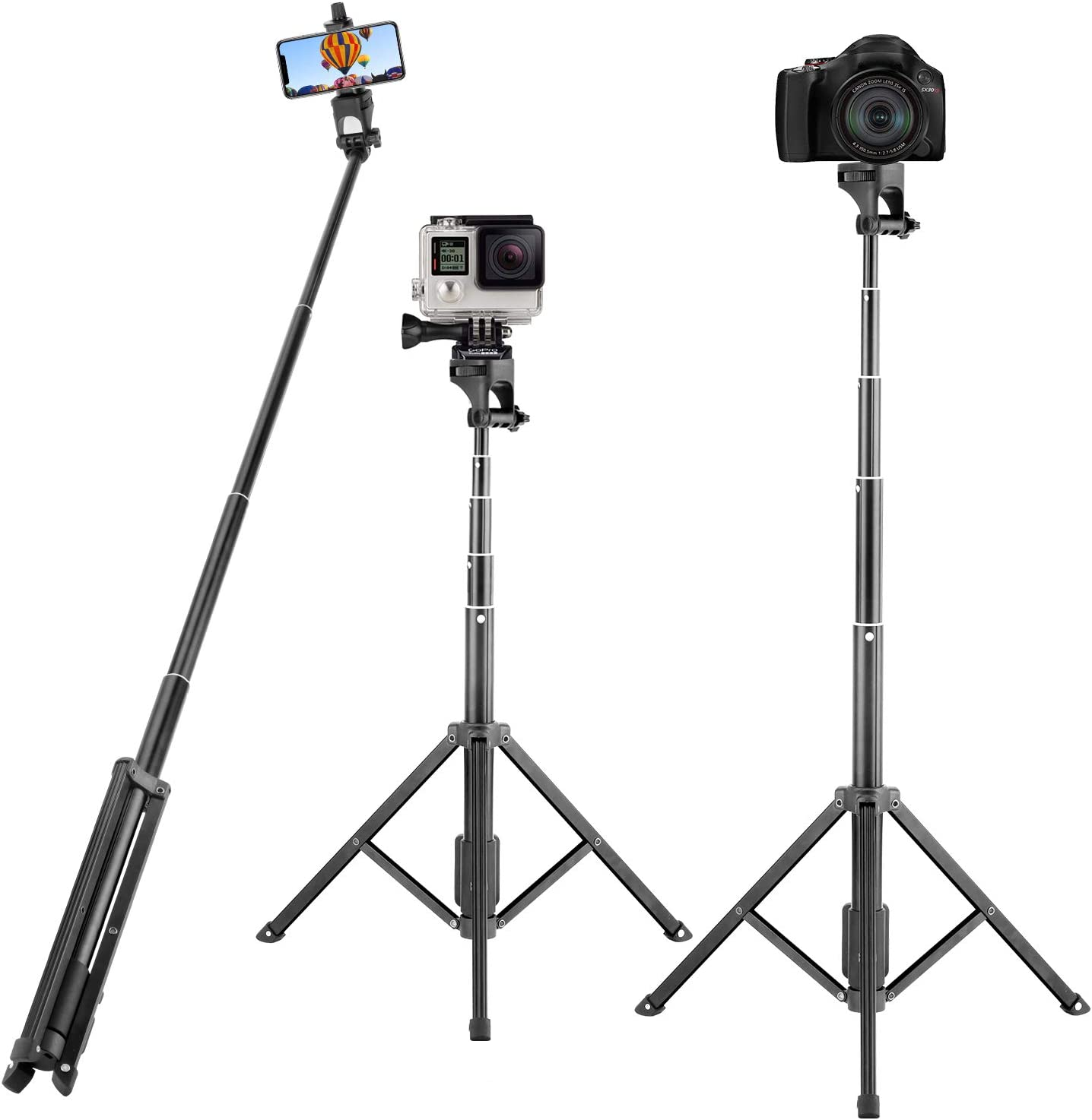 Selfie Stick Tripod, Eocean 54 Inch Extendable Selfie Stick Stand Camera Tripod for Cellphone and Gopro, Compatible with iPhone Xs/Xr/Xs Max/X/8/8Plus/7/Galaxy Note 9/S9/Huawei/Google/Xiaomi Android