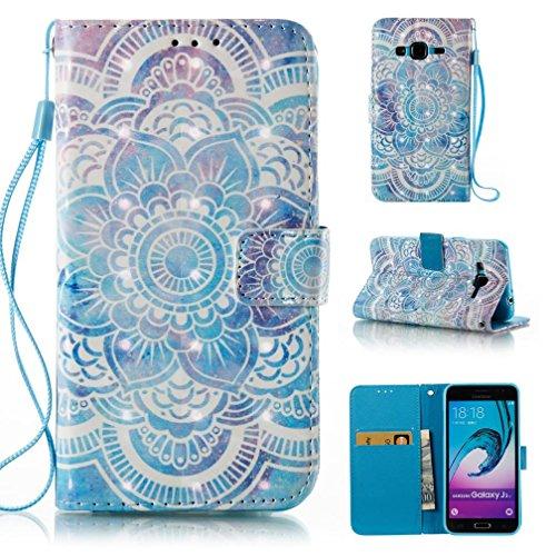 Galaxy J3/J310 case,FlREFlSH Wrist Straps Credit Card Holder Wallet Slip-Proof Premium PU Leather Durable Scratch Resistant Kickstand Wallet Case Cover for Samsung Galaxy J3/J310-Flower