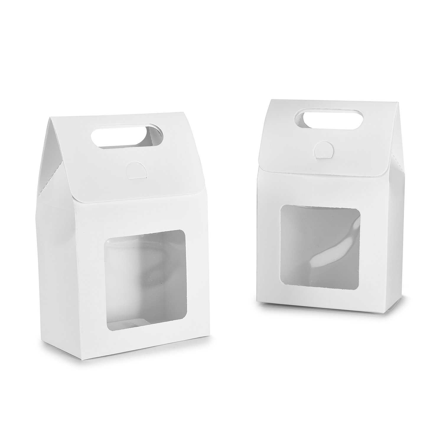 TTOYOUU Paper Cookies/Candy/Cake/Coffee/Tea/Nuts Bags, 24pcs Paper Food Cookies/Candy/Cake/Coffee/Tea/Nuts Stand up Square Box Bags with Clear Window (White)