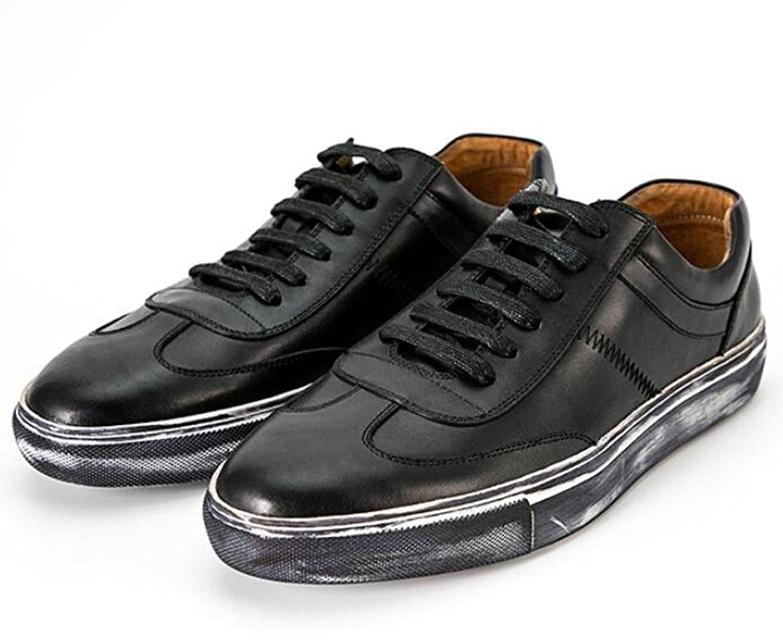 GTYMFH Herbst Sportschuhe Koreanische Version Leder Spitzenschuhe Weiße Schuhe Atmungsaktiv Freizeitschuhe