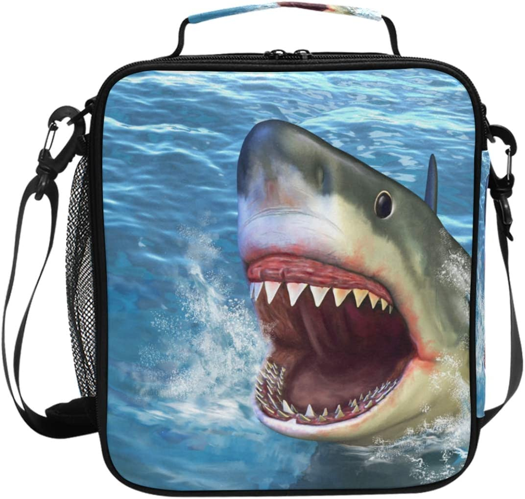Firce Shark Attack Insulated Lunch Bag for Wowen Men Meal Prep Lunch Box for Work Picnic Reusable Backpack Lunch Bags
