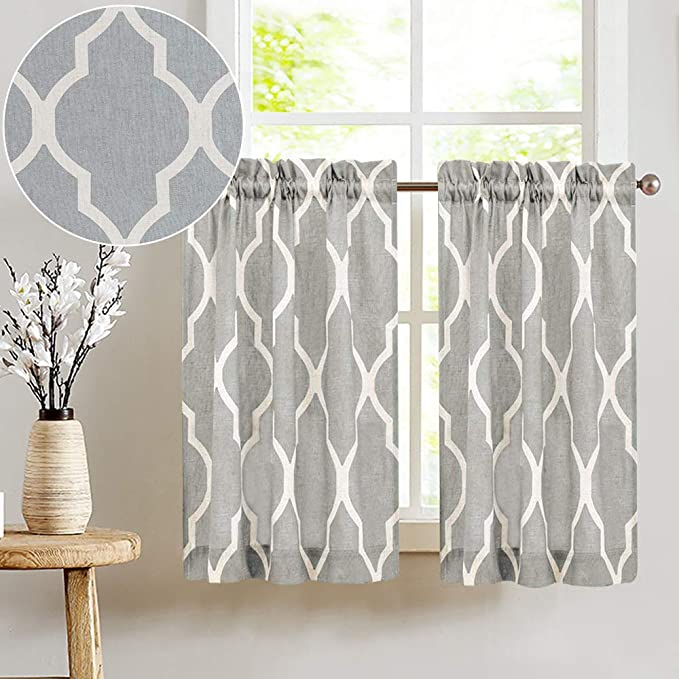 Brown//Taupe Geometric Moroccan Printed Short Farmhouse Kitchen Cafe Tier Curtains Short Curtains for Bathroom CAROMIO Sheer Kitchen Tier Curtains 24 Inch Length