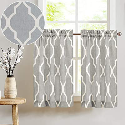 Buy Jinchan Kitchen Curtains Moroccan Tile Print Tier Curtains For Kitchen Lattice Cafe Curtains 24 Inches Long Short Kitchen Window Curtain Sets For Bathroom 1 Pair Grey On Beige Online In Turkey B075hfmm9y