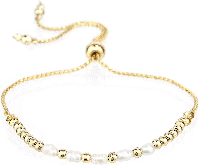 Amazon Com Pomina Natural Pearl Beaded Bolo Bracelets Dainty