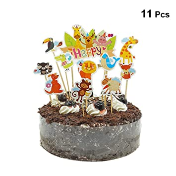 STOBOK Jungle Animal Cupcake Toppers Papery Cartoon Decoration For Baby Shower Birthday Party 11pcs Amazonca Home Kitchen