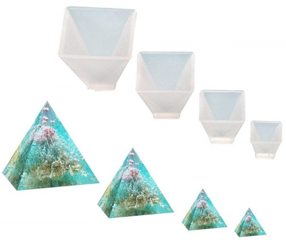 Pyramid Jewelry Casting Molds Silicone Resin Jewelry Molds for DIY Jewelry Craft Making By Garloy,The Multi-faceted Silicone Mold for Making Polymer Clay, Crafting, Resin Epoxy(Pack of 4) 4336825601