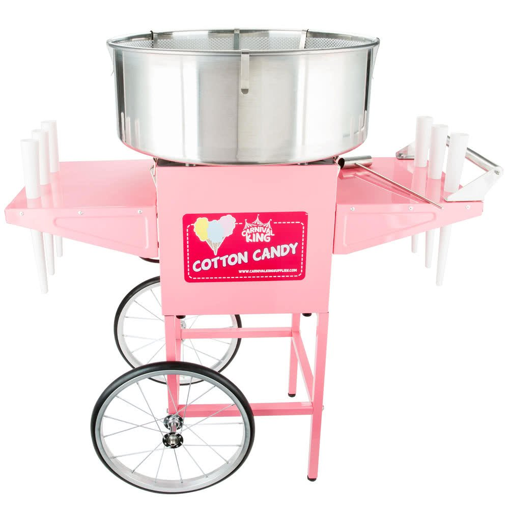 Carnival King CCM21CT Cotton Candy Machine with 21'' Stainless Steel Bowl and Cart - 110V, 1050W