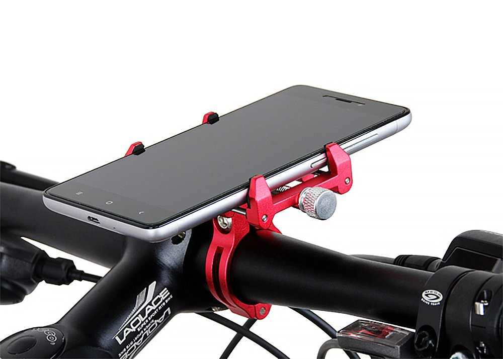 MaxMiles Motorcycle and Bicycle Cell Phone Holder Aluminum Universal Adjustable Phone Mount Smartphone Holder Bike Handlebar Cell Phone Holder For iPhone X 5 6 7 8 Plus Samsung LG (Standart Black) by MaxMiles