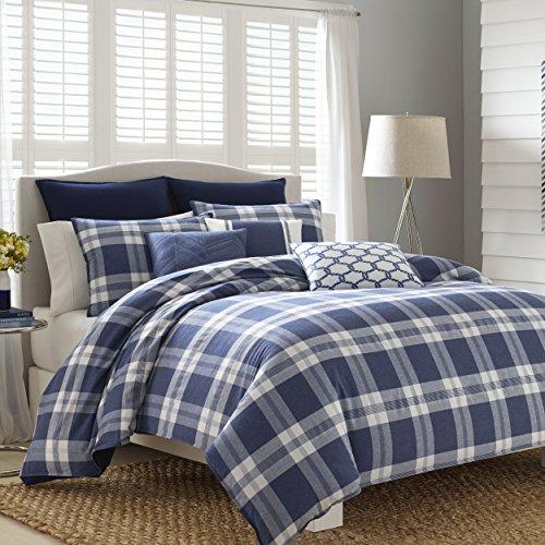Blue Denim Comforter Set (Nautica 220518 Cunningham Comforter Set, Navy, King)
