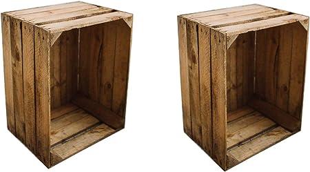 Teramico Caja de Madera Caja de Manzana Fruta (cajón-estantería Caja de Madera Vintage Shabby bürstenrein y Estable 50 x 40 x 30 cm, Madera, 2 Unidades, 50x40x30: Amazon.es: Hogar