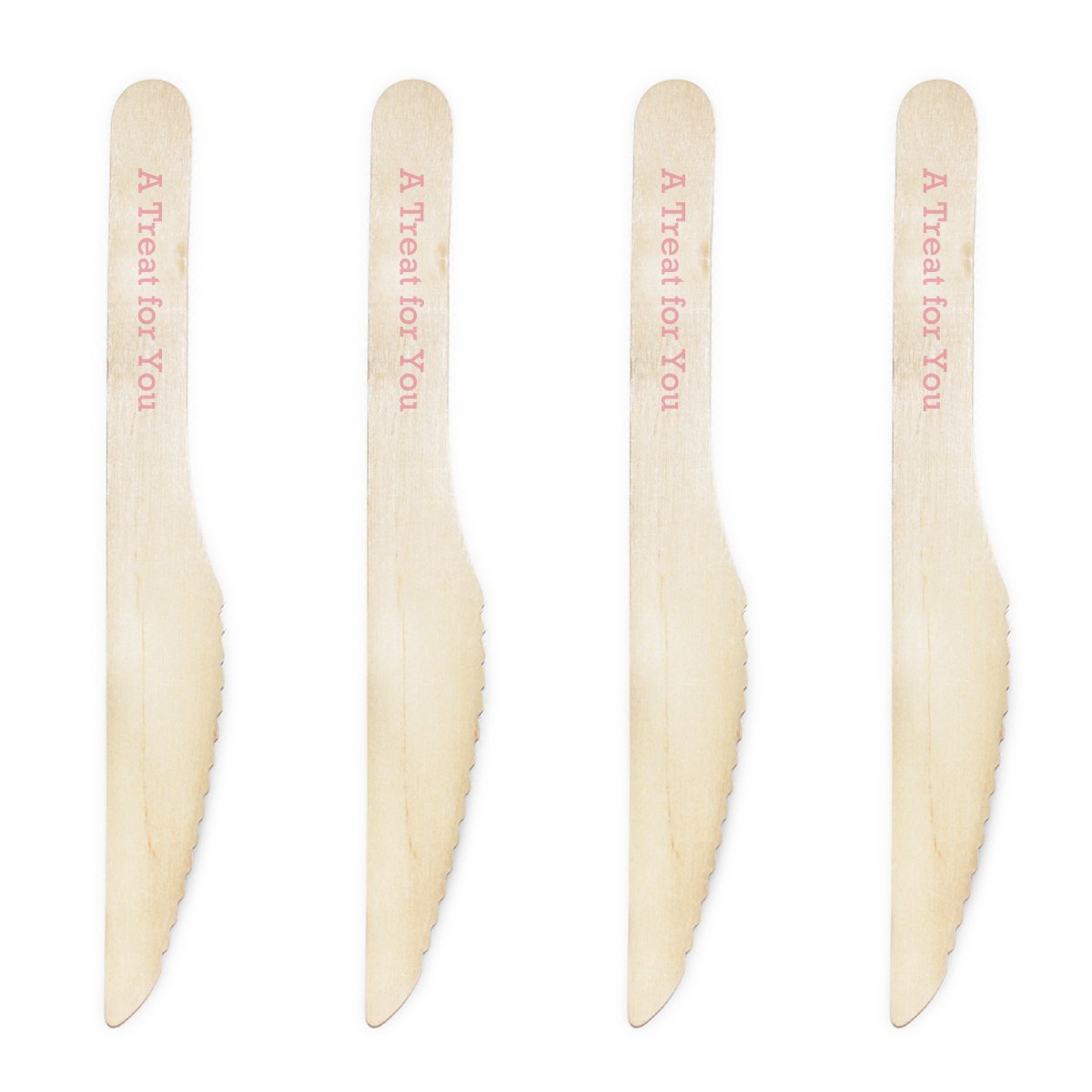 Dress My Cupcake Natural Wood Candy 200-Pack Buffet Knives DIY Kit, A Treat for You, Pink