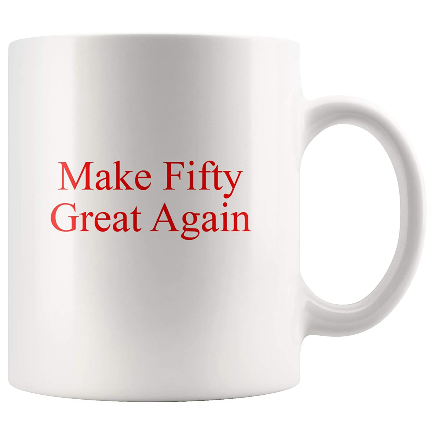 Amazon 50th Birthday Gift Idea Coffee Mug For Men Women Turning Fifty Over The Hill 50 Gag Make Great Again Kitchen Dining