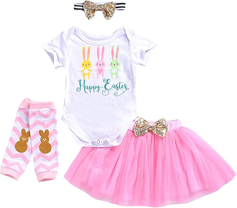 a1fa05b9f819 Amazon.com  Toddler Baby Girls Dress Kid Baby Girl Easter Skirt Outfit Set  Baby Rabbit Bodysuits + Bunny Skirt Clothes Set  Clothing