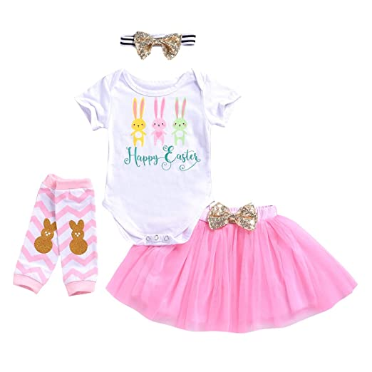 6d9b01ee312 Newborn Infant Baby Girls Easter Outfit Bunny Romper + Pink Strip Leg  Warmers + Headband +