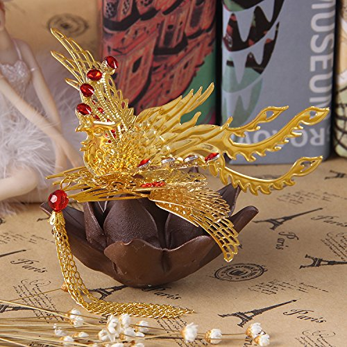 (usongs Chinese costume bridal headdress golden dragon and phoenix gown wedding Marriage comb hair accessories Xiu clothing style with jewelry)