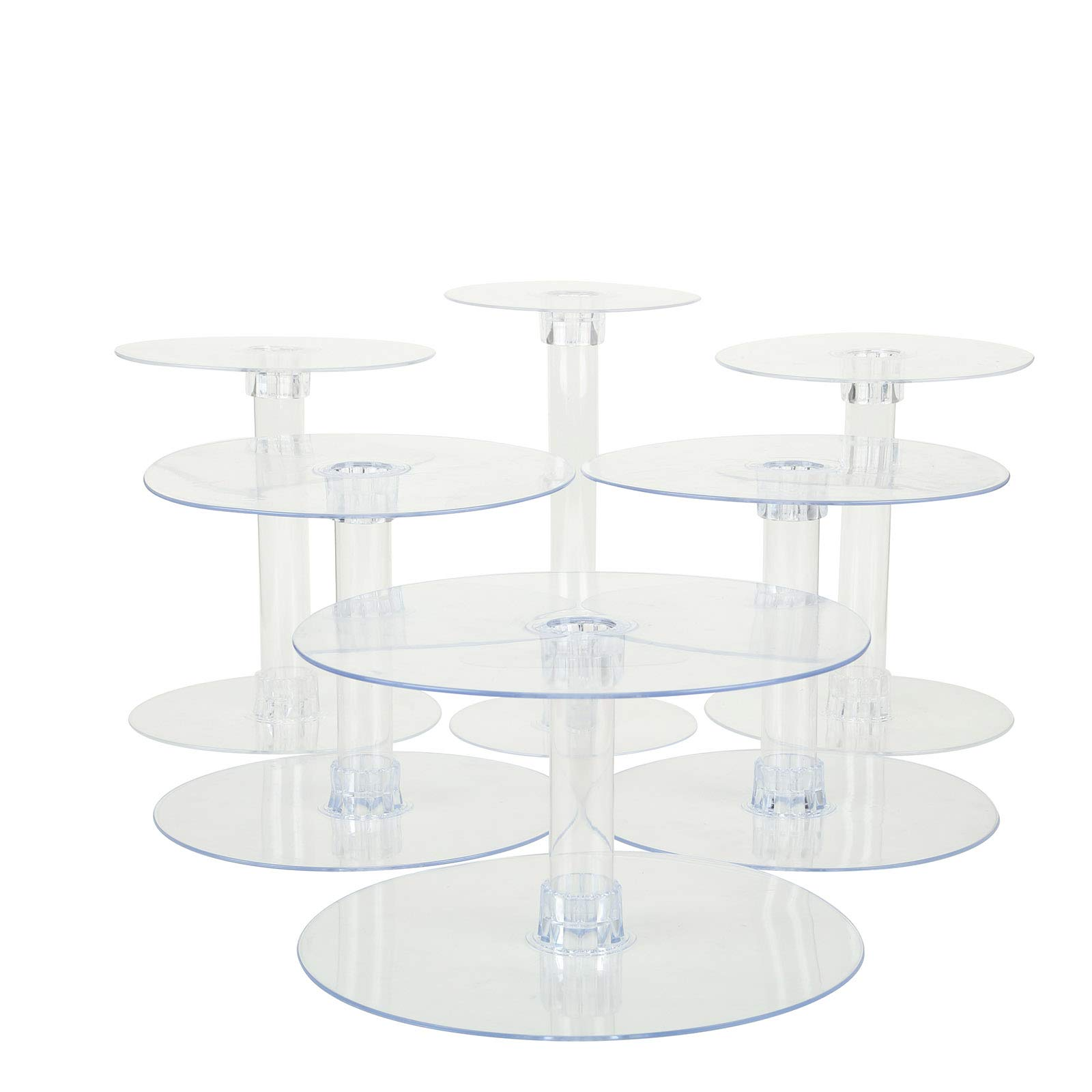 BalsaCircle 6 Tiers Clear Round Crystal Acrylic Cupcake Stand - Tiered Dessert Food Display Serving Tower Birthday Party Wedding