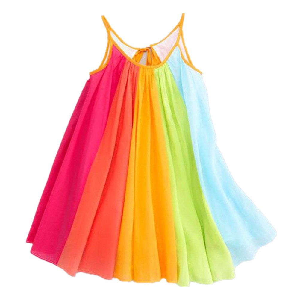Landfox Girl Dresses, Summer Girls Beach Rainbow Dress Girls Sleeveless Sling Perform Party Chiffon Tutu Dress (Size:5/6T,Label Size:120, Multicolor)