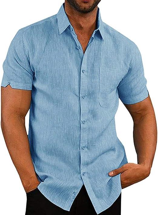 Abracing Hombre Camisa Entallada Manga Corta Liso Casual Trabajo Botón Abajo Camisa Top - Azul, 2XL: Amazon.es: Hogar