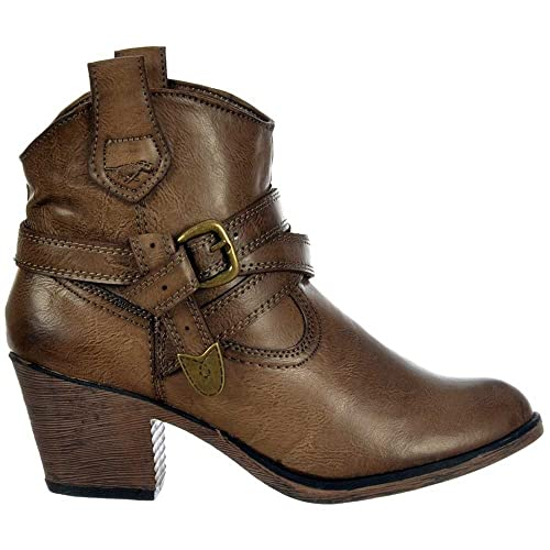 best quality best value exquisite style Rocket Dog Satire Slick PU Cowboy Western Ankle Boots - Taupe UK4 ...