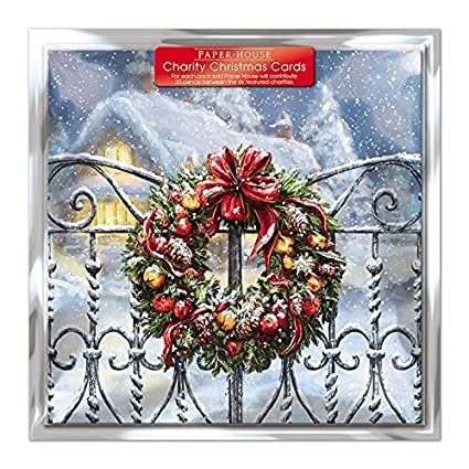 Amazon charity christmas cards pack of 6 cards snowy charity christmas cards pack of 6 cards snowy wreath in aid of the m4hsunfo