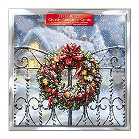 Amazon charity christmas cards pack of 6 cards snowy amazon charity christmas cards pack of 6 cards snowy wreath in aid of the following charities marie curie cancer care british heart foundation m4hsunfo