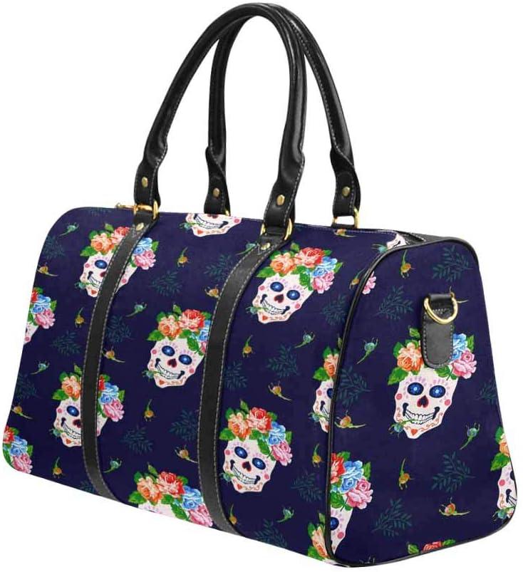 InterestPrint Large Duffel Bag Flight Bag Gym Bag Skulls and Flowers