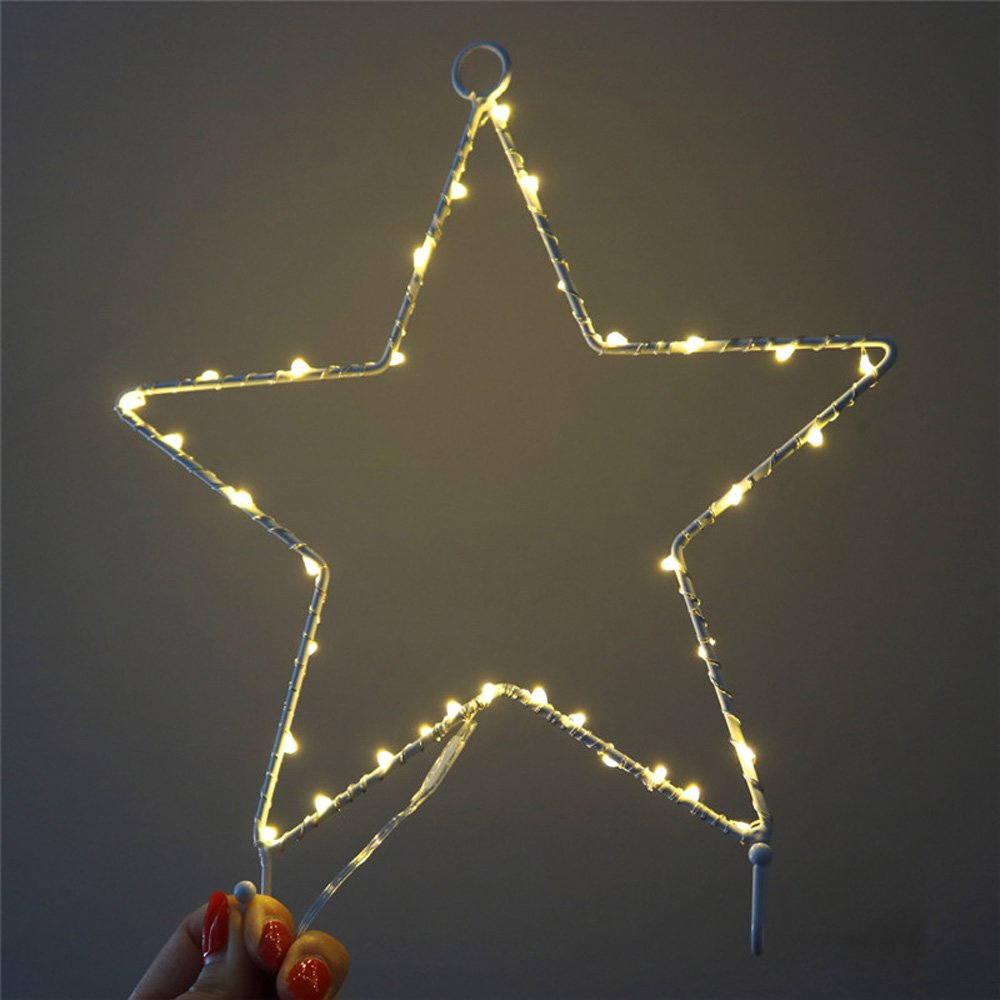 Warm White Star Wall Decor LED Night Light Metal Frame Decorative Light for Kids Room Bedroom Home Decoration Party Holiday Decor