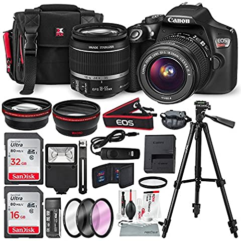 Canon EOS Rebel T6 DSLR Camera with EF-S 18-55mm f/3.5-5.6 IS II Lens, Along with 32 & 16GB SDHC, and Deluxe Accessory Bundle with Xpix cleaning - Canon Digital Rebel Kit