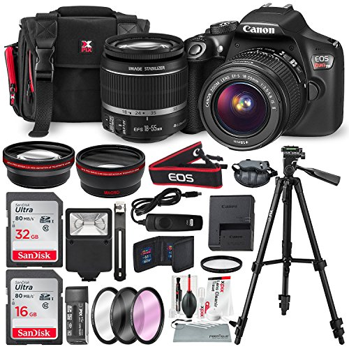 Canon EOS Rebel T6 DSLR Camera with EF-S 18-55mm f/3.5-5.6 is II Lens, Along with 32 & 16GB SDHC, and Deluxe Accessory Bundle with Xpix Cleaning Accessories (Deluxe Slr Pro Camera Case)