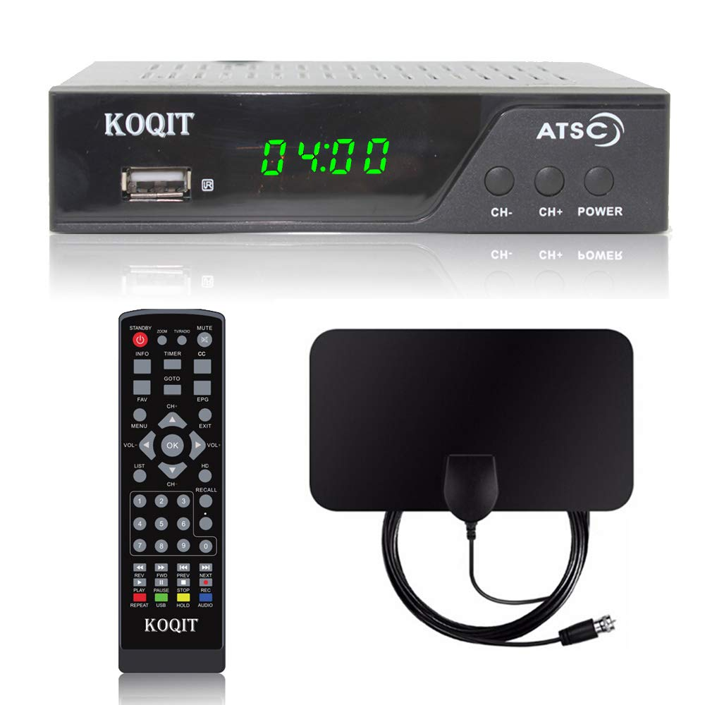 1080P Digital Converter Box to Analog Digital TV ATSC Tuner Converters Bundle 30 Mile Flat UHF VHF Indoor Antenna Recording Pause Zoom Live TV Box