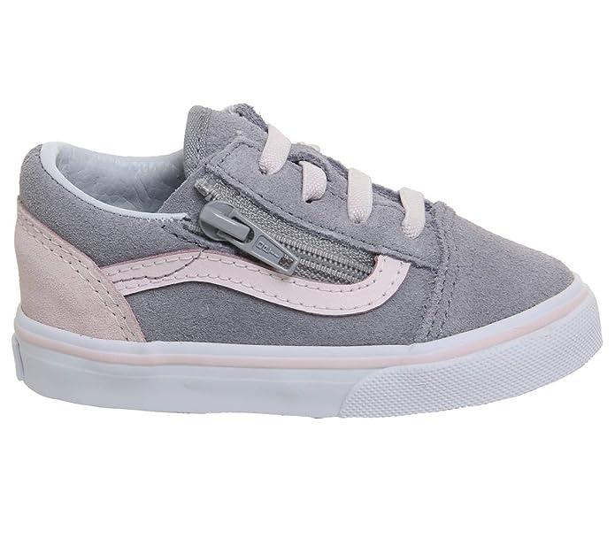 Vans Old Skool Unisex Sneakers Grau Rosa mit Reißverschluss