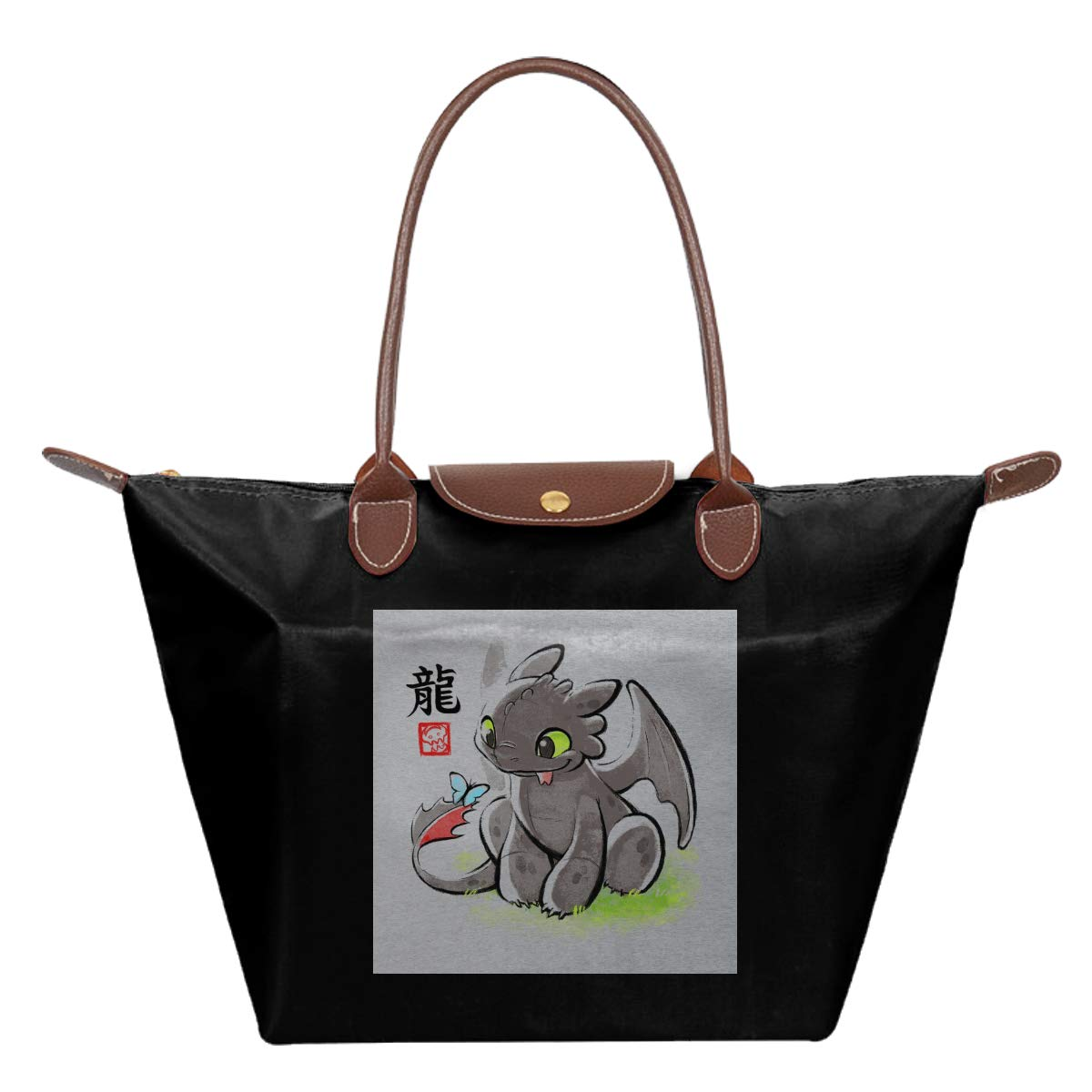 How To Train Your Dragon Toothless Ink Waterproof Leather Folded Messenger Nylon Bag Travel Tote Hopping Folding School Handbags