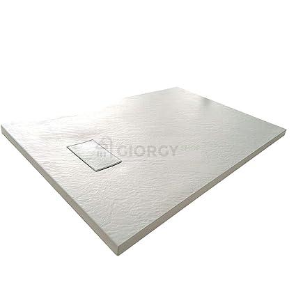 Piatto doccia 70x90 Bianco H.2.6 cm effetto pietra ardesia SMC in ...