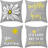 DUSEN Decorative Cute Throw Pillow Covers for Couch, Sofa, or Bed Set of 4 18 x 18 inch Yellow On Grey Modern Quality Design Outdoor Shell Cusion Cover (Bird Sunshine Flower)