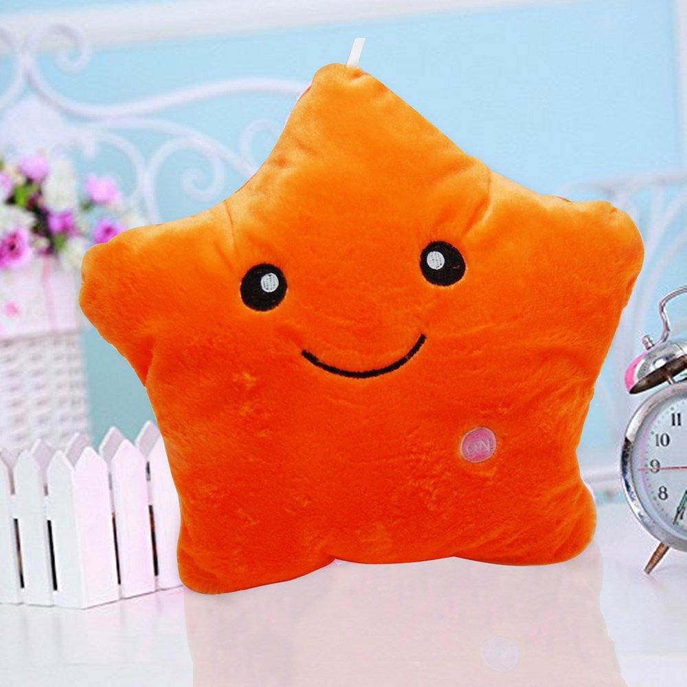 Cojín con luz LED Missley, diseño de estrella naranja