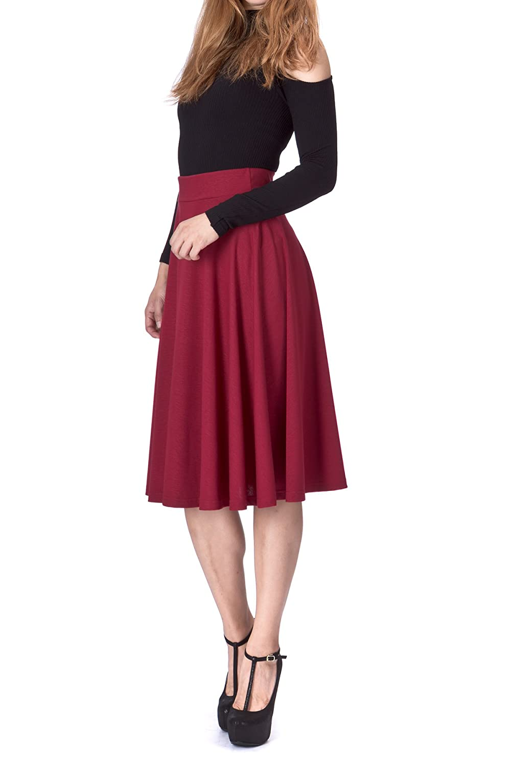 Dani's Choice Beautiful Flowing A-line Flared Swing Midi Skirt SN16-0802-001