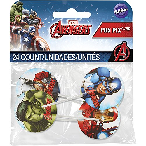 Wilton 2113-4110 Marvel Avengers Fun Pix Cupcake Toppers, Multicolor -